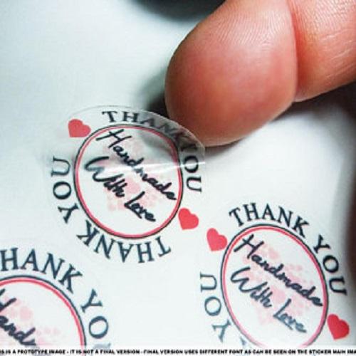 Handmade with love translucent decal sticker